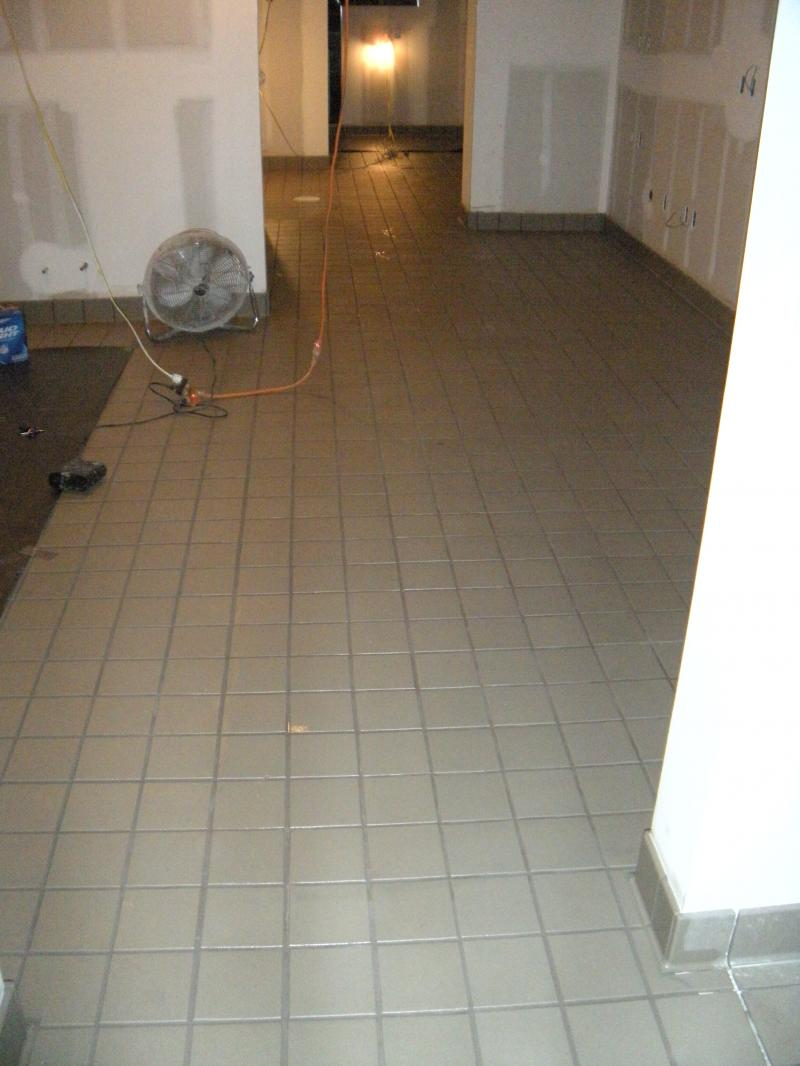 Quarry tile installed with spectra lock epoxy grout
